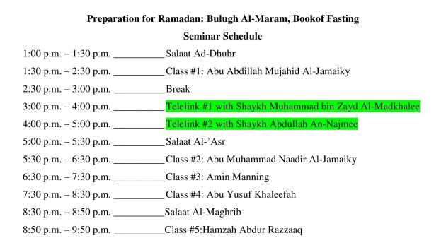 June 2013 Preparation for Ramadan Seminar Schedule