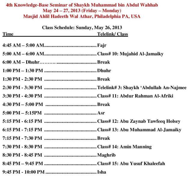 May Seminar Day 3 Schedule