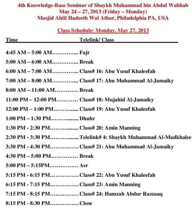 May Seminar Day 4 Schedule