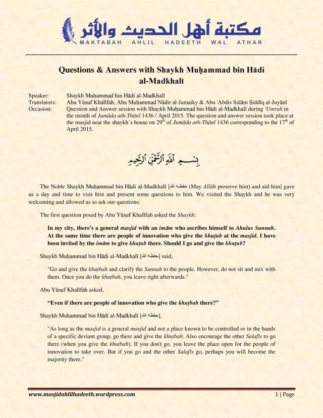 Q&A with Shaykh Muhammad ibn Hadi Al-Madkhali_Page 1