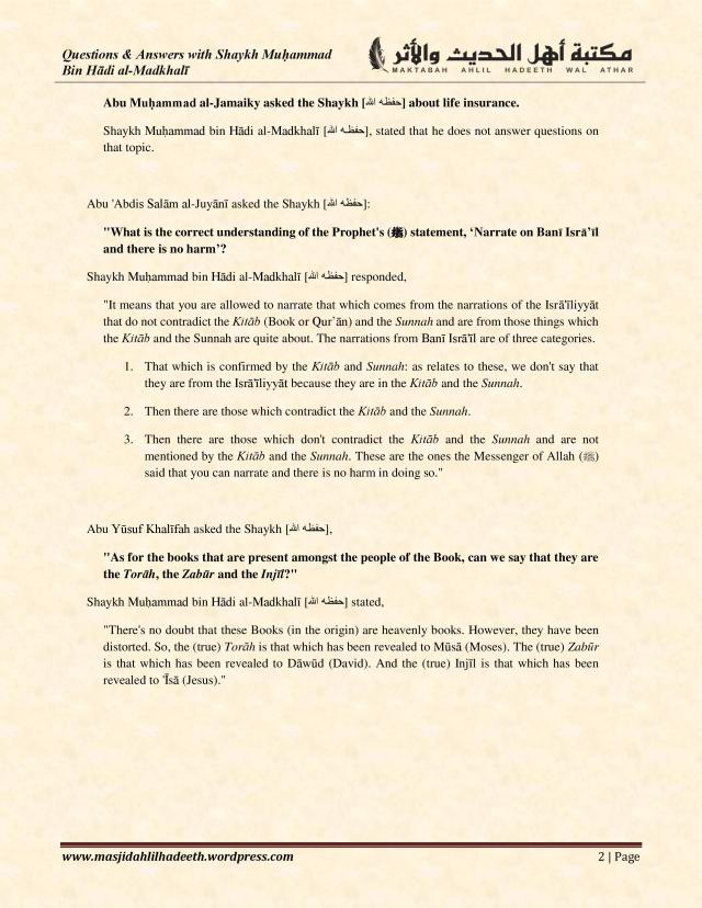 Q&A with Shaykh Muhammad ibn Hadi Al-Madkhali_Page 2