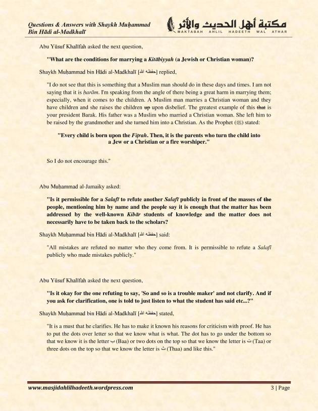 Q&A with Shaykh Muhammad ibn Hadi Al-Madkhali_Page 3