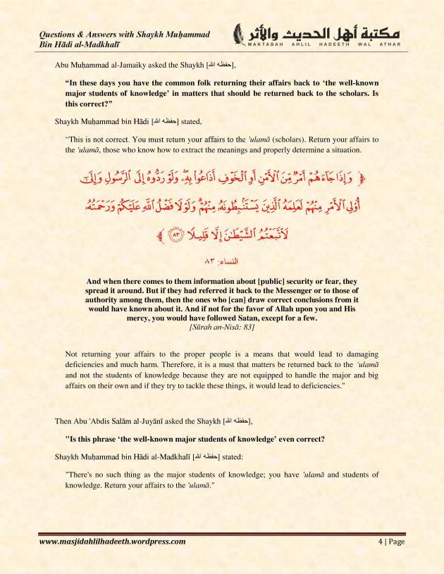 Q&A with Shaykh Muhammad ibn Hadi Al-Madkhali_Page 4