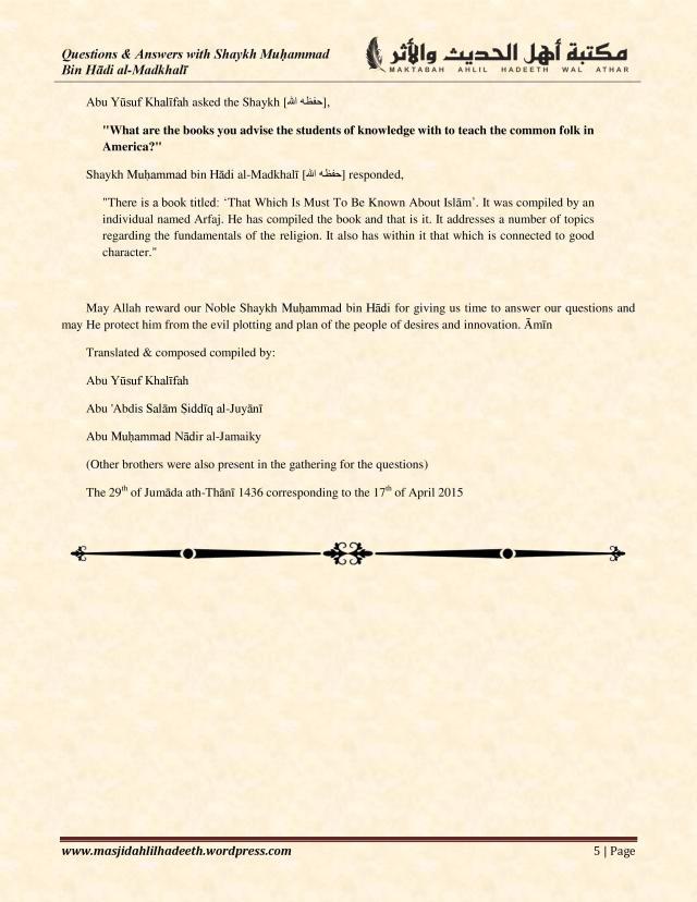 Q&A with Shaykh Muhammad ibn Hadi Al-Madkhali_Page 5